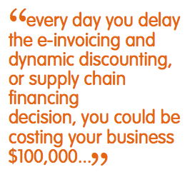 """every day you delay the e-invoicing and dynamic discounting, or supply chain financing decision, you could be costing you'r business $100,000... """